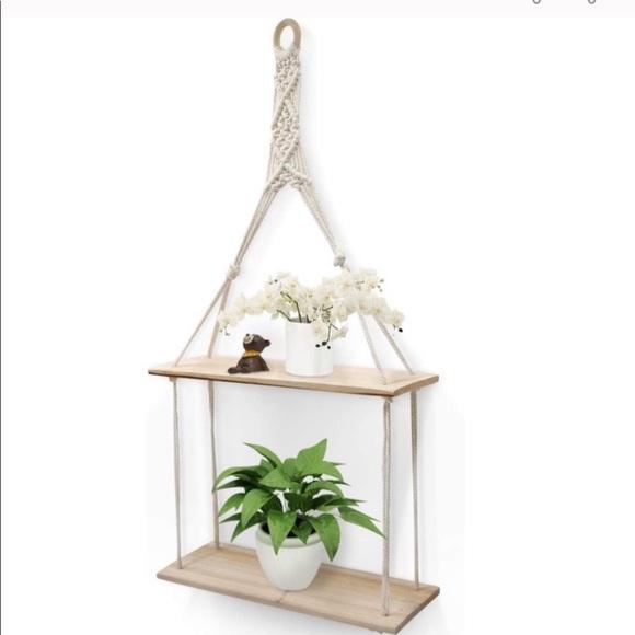 Hanging Wall Shelf 2 Tier Macrame Floating Shelves